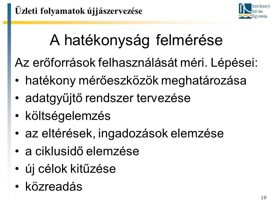 Széchenyi István Egyetem 19 A hatékonyság felmérése Az erőforrások felhasználását méri.