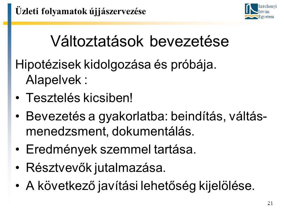 Széchenyi István Egyetem 21 Változtatások bevezetése Hipotézisek kidolgozása és próbája.