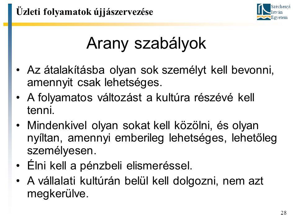 Széchenyi István Egyetem 28 Arany szabályok Üzleti folyamatok újjászervezése Az átalakításba olyan sok személyt kell bevonni, amennyit csak lehetséges.