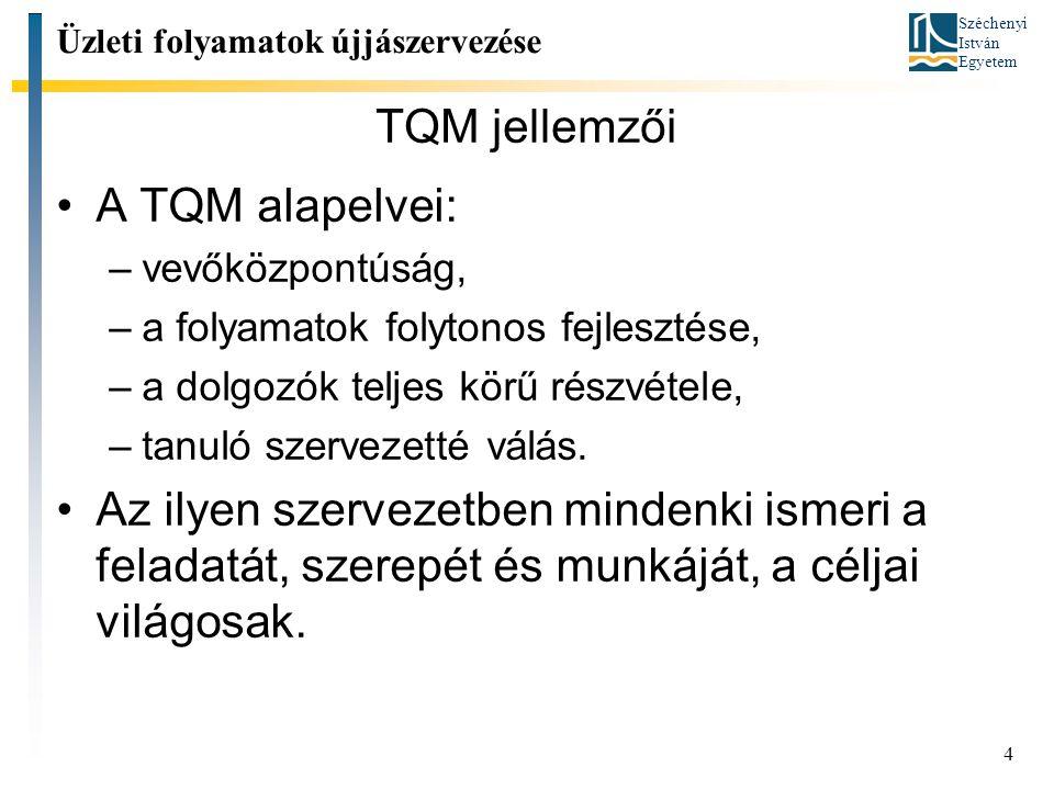 Széchenyi István Egyetem 4 TQM jellemzői A TQM alapelvei: –vevőközpontúság, –a folyamatok folytonos fejlesztése, –a dolgozók teljes körű részvétele, –tanuló szervezetté válás.