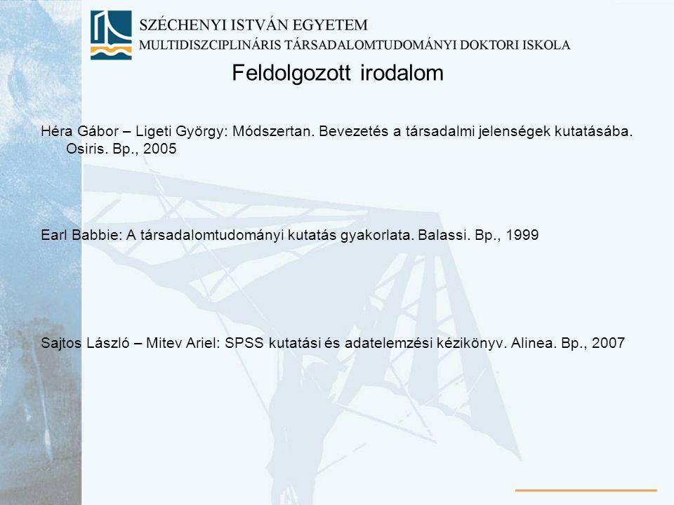 Feldolgozott irodalom Héra Gábor – Ligeti György: Módszertan. Bevezetés a társadalmi jelenségek kutatásába. Osiris. Bp., 2005 Earl Babbie: A társadalo