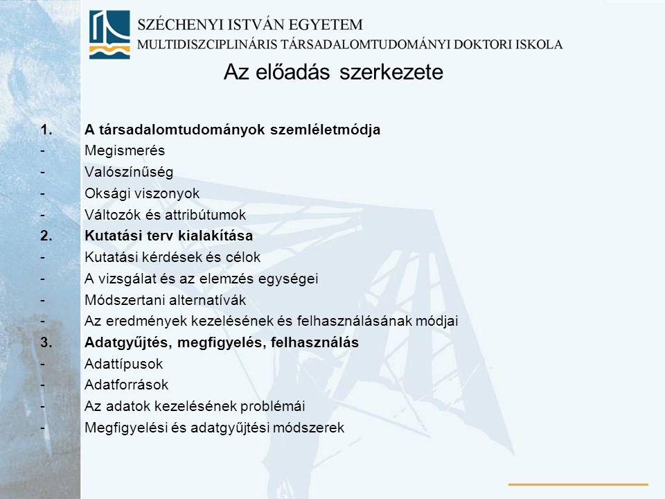 Az előadás szerkezete 1.A társadalomtudományok szemléletmódja -Megismerés -Valószínűség -Oksági viszonyok -Változók és attribútumok 2.Kutatási terv ki