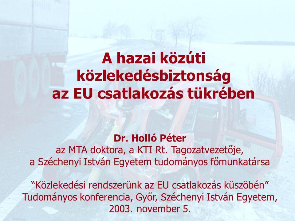 1 Közlekedési rendszerünk az EU csatlakozás küszöbén Tudományos konferencia, Győr, Széchenyi István Egyetem, 2003.