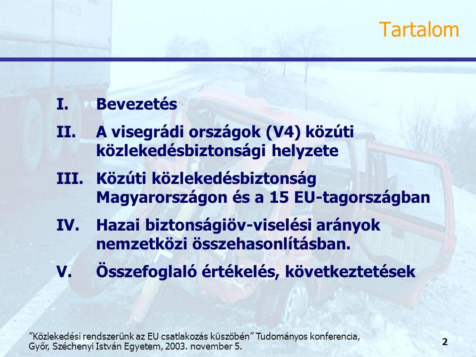 13 Közlekedési rendszerünk az EU csatlakozás küszöbén Tudományos konferencia, Győr, Széchenyi István Egyetem, 2003.