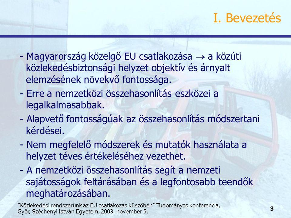 4 Közlekedési rendszerünk az EU csatlakozás küszöbén Tudományos konferencia, Győr, Széchenyi István Egyetem, 2003.