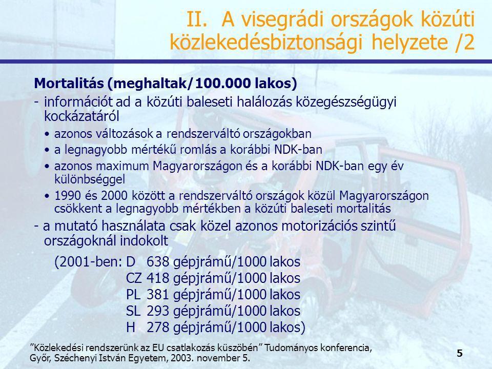 26 Közlekedési rendszerünk az EU csatlakozás küszöbén Tudományos konferencia, Győr, Széchenyi István Egyetem, 2003.