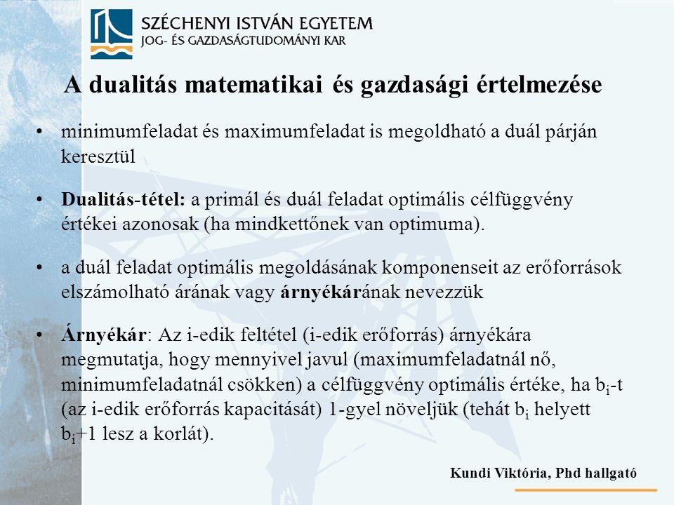 A dualitás matematikai és gazdasági értelmezése minimumfeladat és maximumfeladat is megoldható a duál párján keresztül Dualitás-tétel: a primál és duál feladat optimális célfüggvény értékei azonosak (ha mindkettőnek van optimuma).