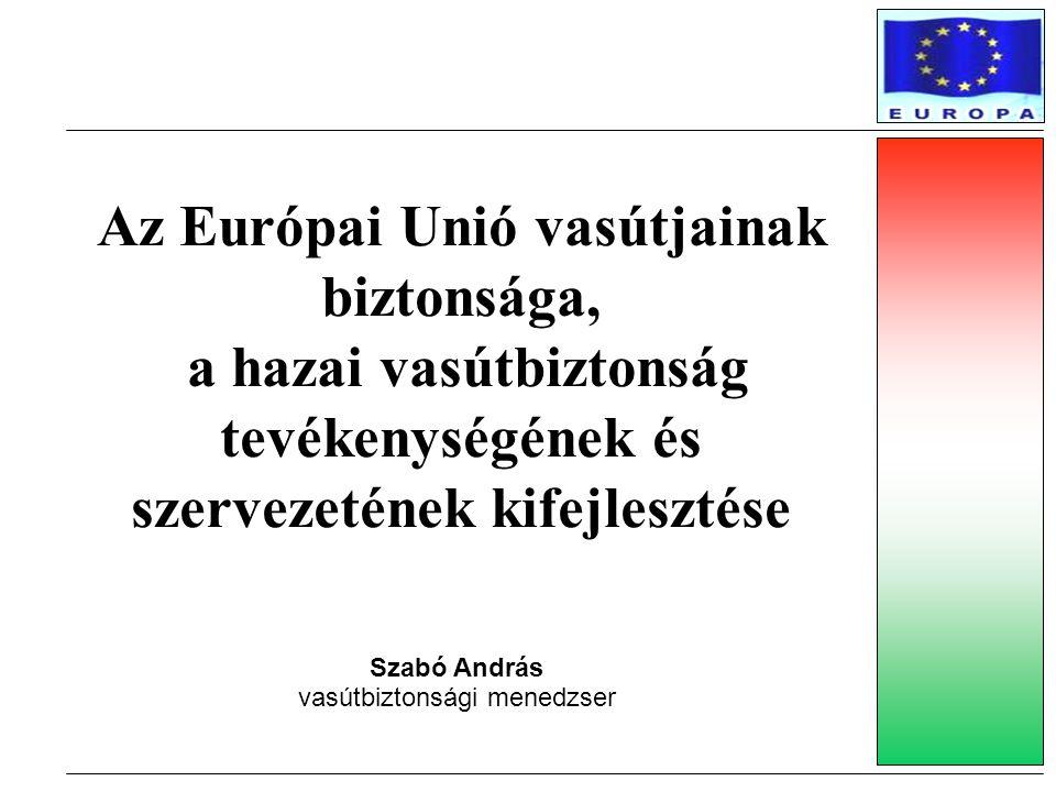 Az Európai Unió vasútjainak biztonsága, a hazai vasútbiztonság tevékenységének és szervezetének kifejlesztése Szabó András vasútbiztonsági menedzser