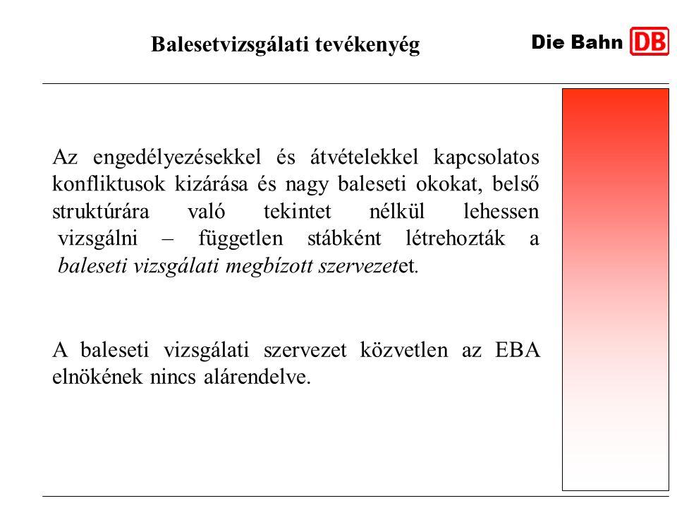 Die Bahn Balesetvizsgálati tevékenyég Az engedélyezésekkel és átvételekkel kapcsolatos konfliktusok kizárása és nagy baleseti okokat, belső struktúrár