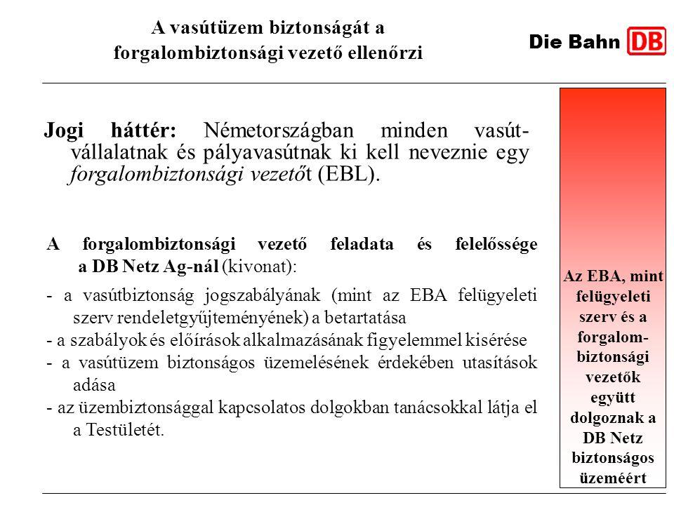 Jogi háttér: Németországban minden vasút- vállalatnak és pályavasútnak ki kell neveznie egy forgalombiztonsági vezetőt (EBL). A vasútüzem biztonságát