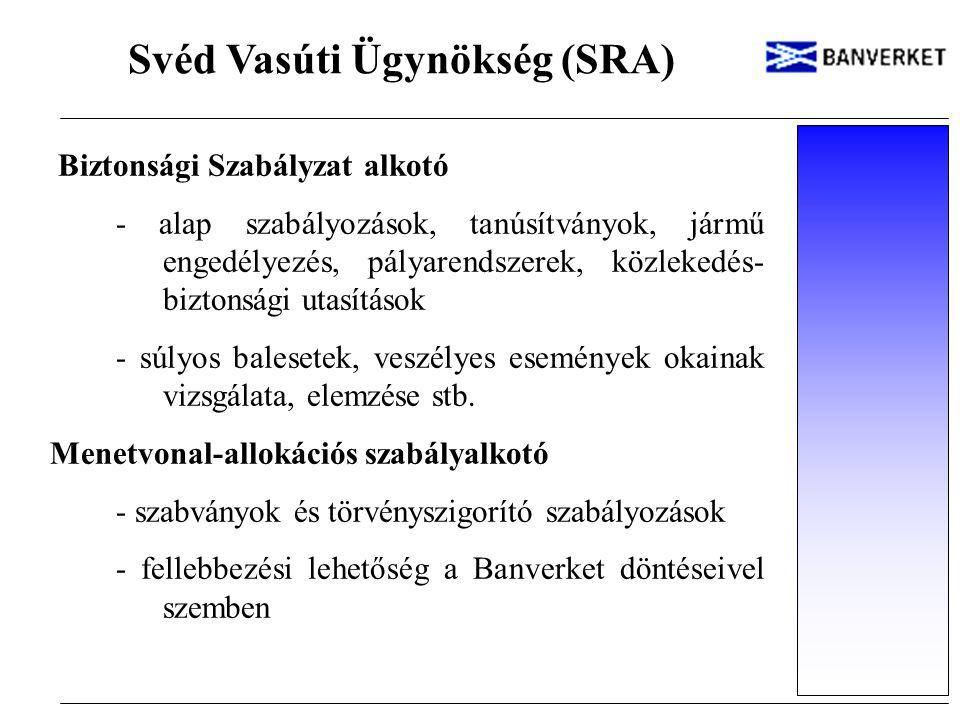 Svéd Vasúti Ügynökség (SRA) Biztonsági Szabályzat alkotó - alap szabályozások, tanúsítványok, jármű engedélyezés, pályarendszerek, közlekedés- biztons