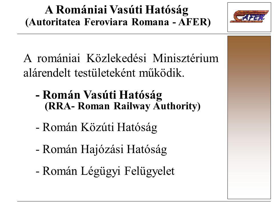 A Romániai Vasúti Hatóság (Autoritatea Feroviara Romana - AFER) A romániai Közlekedési Minisztérium alárendelt testületeként működik. - Román Vasúti H