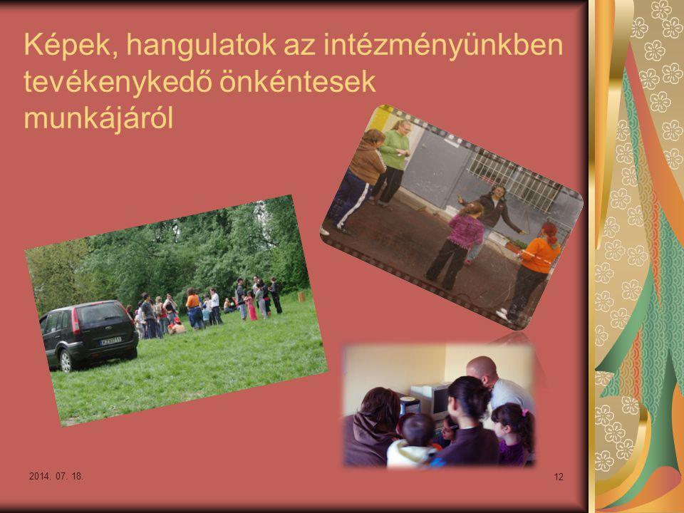 Képek, hangulatok az intézményünkben tevékenykedő önkéntesek munkájáról 2014. 07. 18. 12
