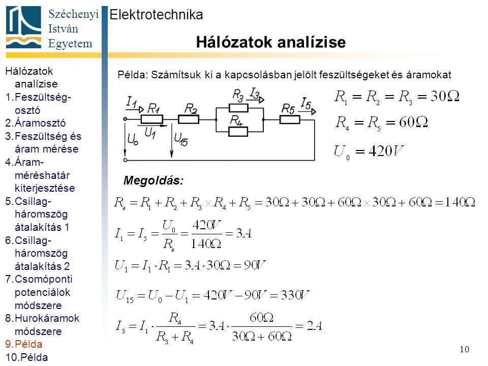Széchenyi István Egyetem 10 Példa: Számítsuk ki a kapcsolásban jelölt feszültségeket és áramokat Elektrotechnika Hálózatok analízise Megoldás: Hálózat