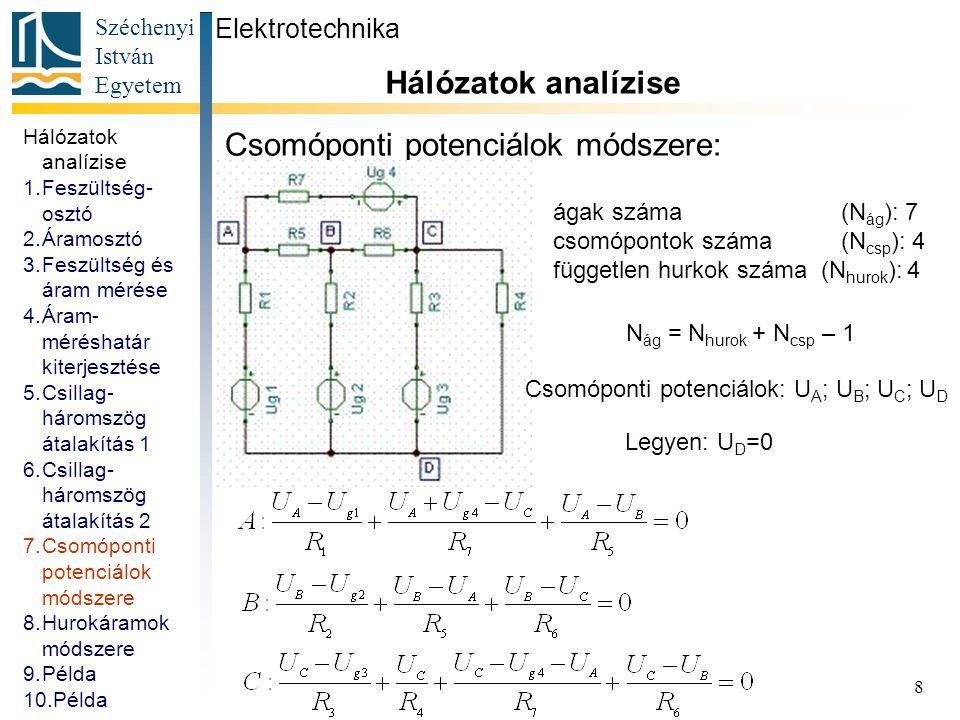Széchenyi István Egyetem 8 Csomóponti potenciálok módszere: Elektrotechnika Hálózatok analízise ágak száma (N ág ): 7 csomópontok száma (N csp ): 4 fü