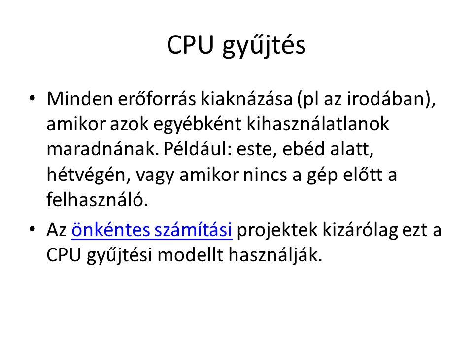 CPU gyűjtés Minden erőforrás kiaknázása (pl az irodában), amikor azok egyébként kihasználatlanok maradnának.