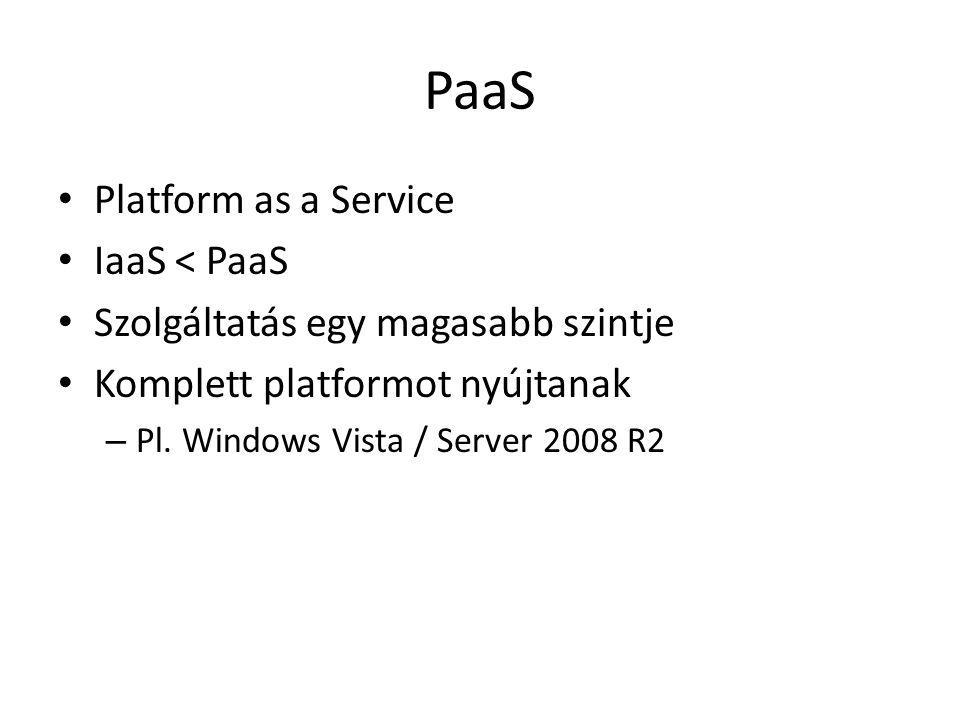 PaaS Platform as a Service IaaS < PaaS Szolgáltatás egy magasabb szintje Komplett platformot nyújtanak – Pl.