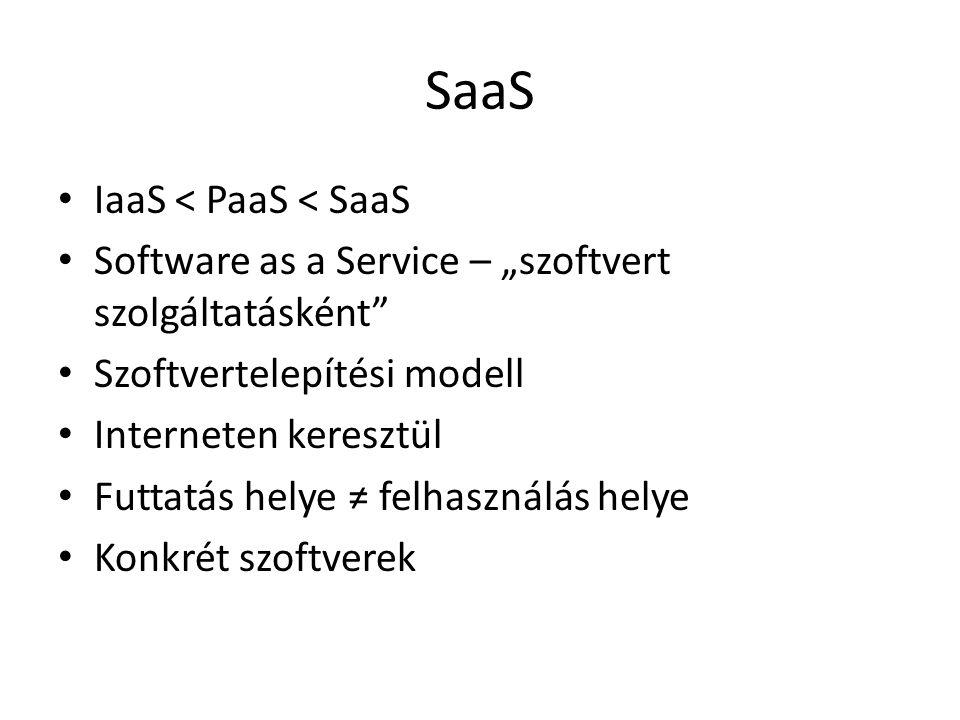 """SaaS IaaS < PaaS < SaaS Software as a Service – """"szoftvert szolgáltatásként Szoftvertelepítési modell Interneten keresztül Futtatás helye ≠ felhasználás helye Konkrét szoftverek"""