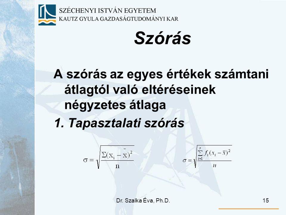 Dr. Szalka Éva, Ph.D.15 Szórás A szórás az egyes értékek számtani átlagtól való eltéréseinek négyzetes átlaga 1. Tapasztalati szórás