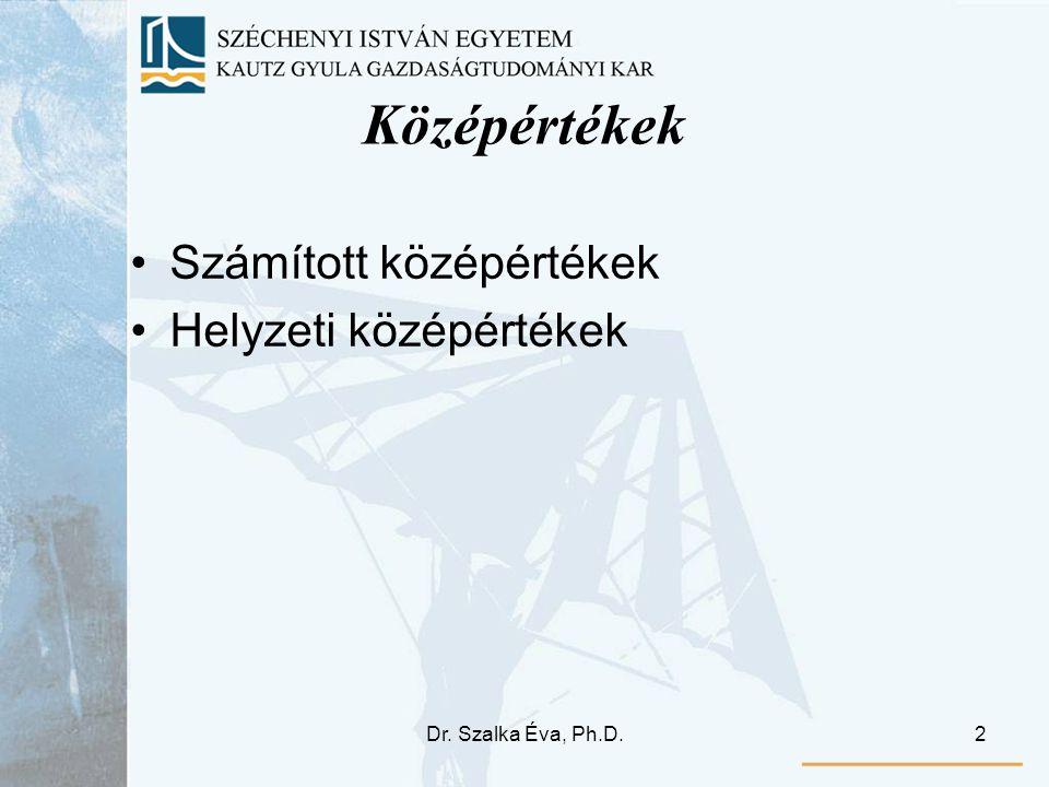 Dr.Szalka Éva, Ph.D.3 I. Számított középértékek 1.