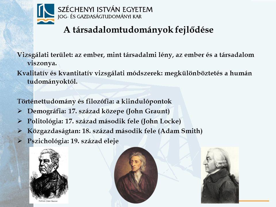 A társadalomtudományok fejlődése Vizsgálati terület: az ember, mint társadalmi lény, az ember és a társadalom viszonya. Kvalitatív és kvantitatív vizs