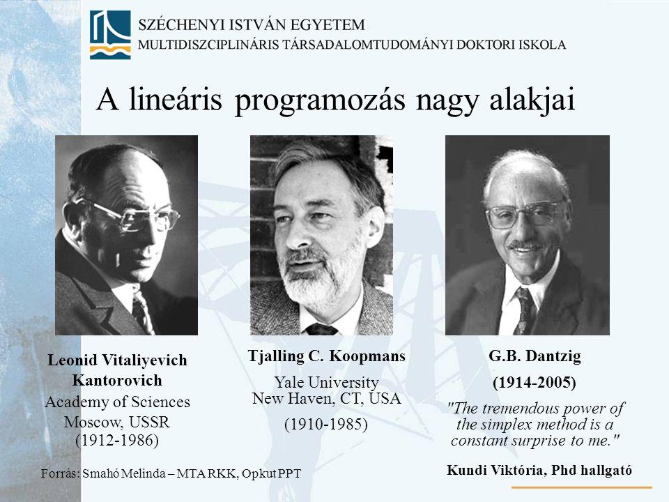 A lineáris programozás nagy alakjai Leonid Vitaliyevich Kantorovich Academy of Sciences Moscow, USSR (1912-1986) Tjalling C. Koopmans Yale University