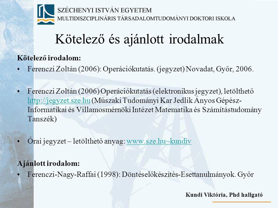 Kötelező és ajánlott irodalmak Kötelező irodalom: Ferenczi Zoltán (2006): Operációkutatás. (jegyzet) Novadat, Győr, 2006. Ferenczi Zoltán (2006) Operá
