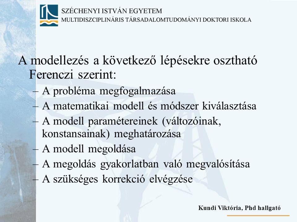 A modellezés a következő lépésekre osztható Ferenczi szerint: –A probléma megfogalmazása –A matematikai modell és módszer kiválasztása –A modell param