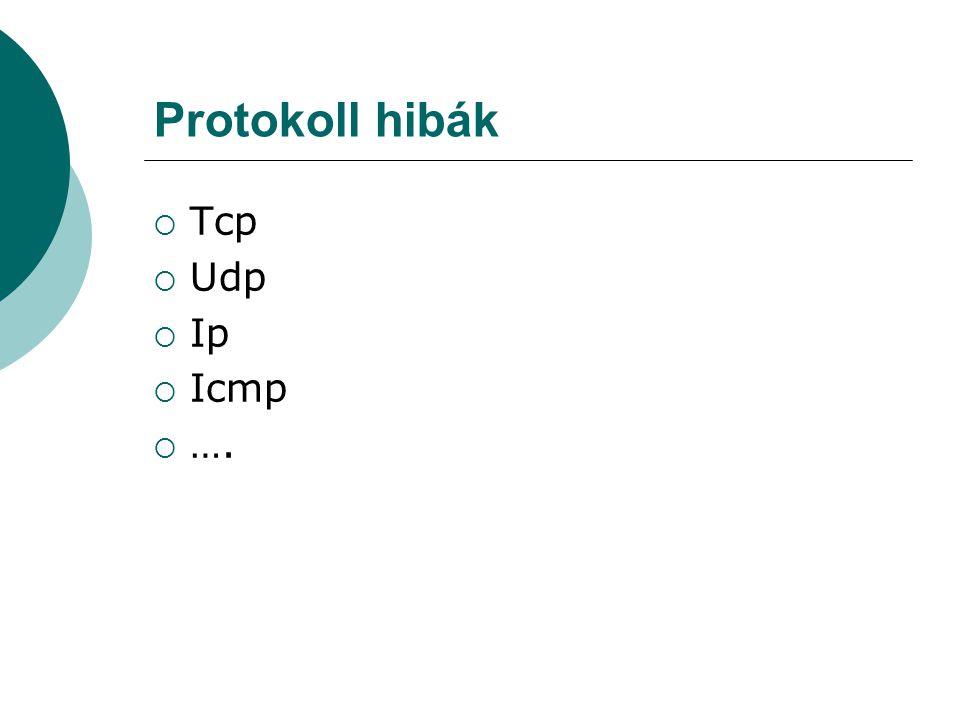 Protokoll hibák  Tcp  Udp  Ip  Icmp  ….
