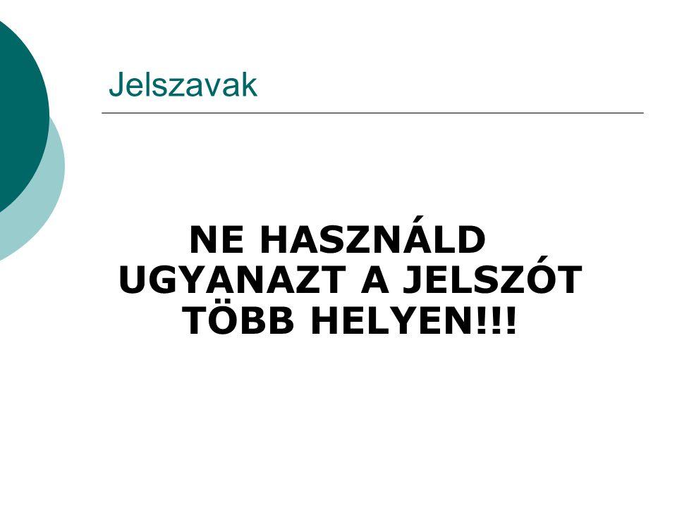 Jelszavak NE HASZNÁLD UGYANAZT A JELSZÓT TÖBB HELYEN!!!