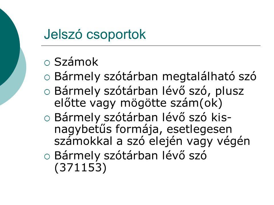 Jelszó csoportok  Számok  Bármely szótárban megtalálható szó  Bármely szótárban lévő szó, plusz előtte vagy mögötte szám(ok)  Bármely szótárban lé