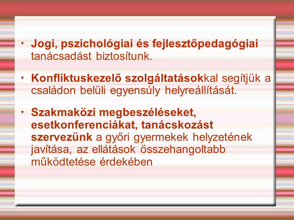 Jogi, pszichológiai és fejlesztőpedagógiai tanácsadást biztosítunk.