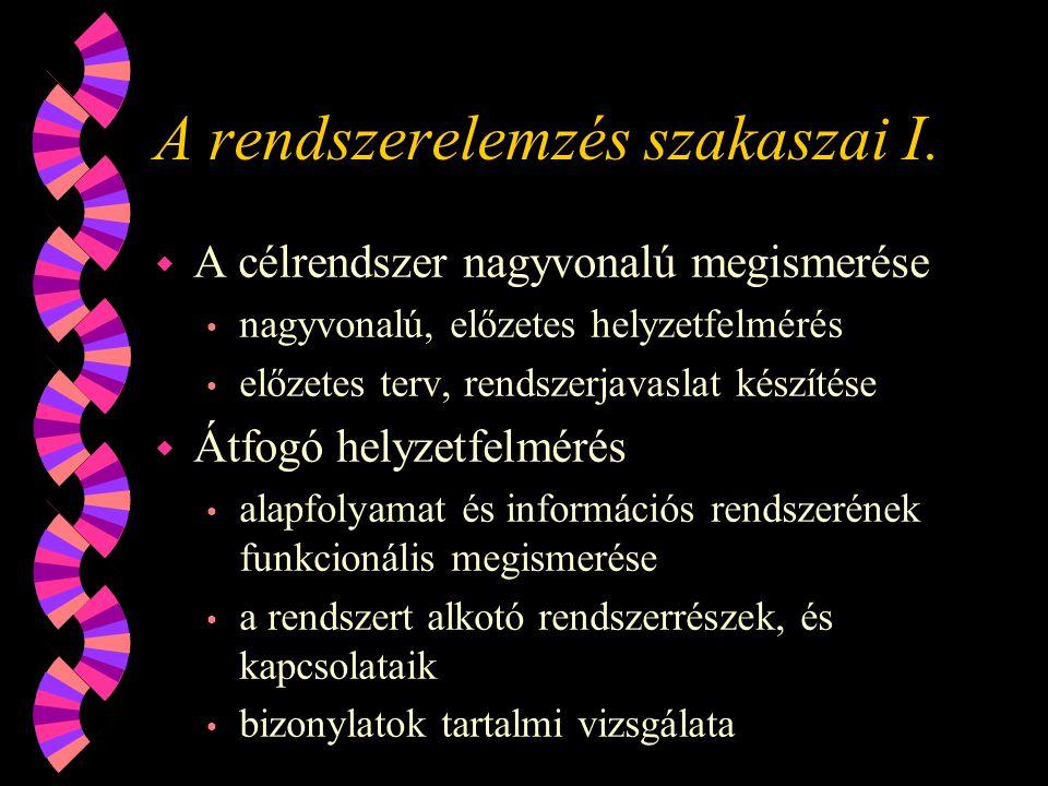 A rendszerelemzés szakaszai I.