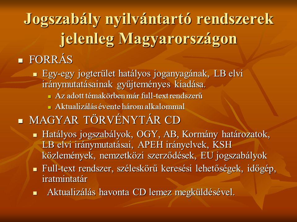 Jogszabály nyilvántartó rendszerek jelenleg Magyarországon FORRÁS FORRÁS Egy-egy jogterület hatályos joganyagának, LB elvi iránymutatásainak gyűjtemén