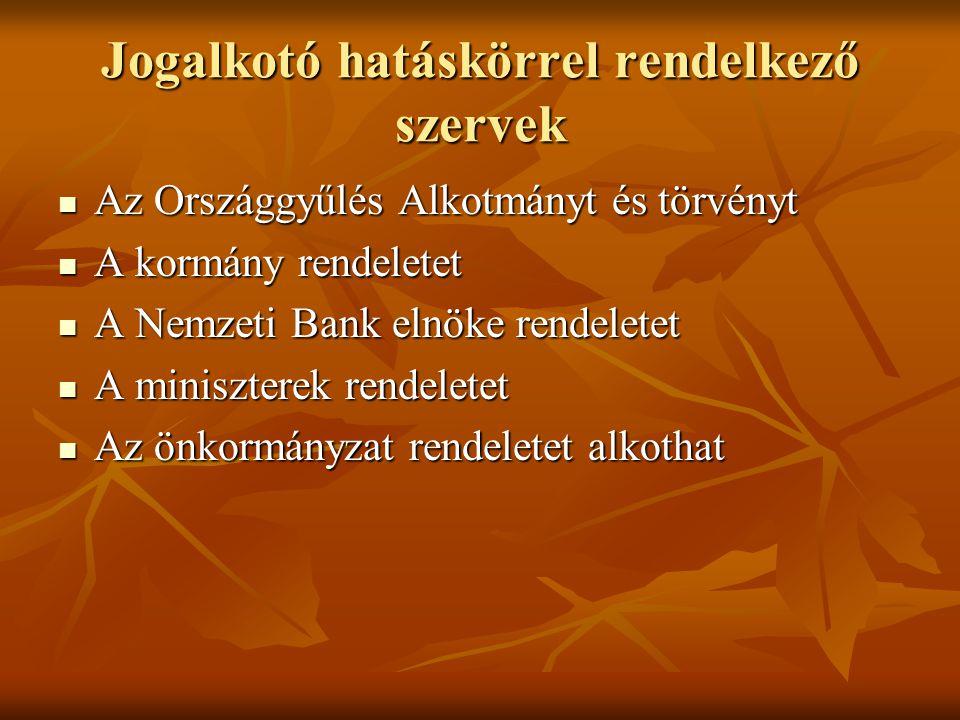 Jogszabály nyilvántartó rendszerek jelenleg Magyarországon FORRÁS FORRÁS Egy-egy jogterület hatályos joganyagának, LB elvi iránymutatásainak gyűjteményes kiadása.