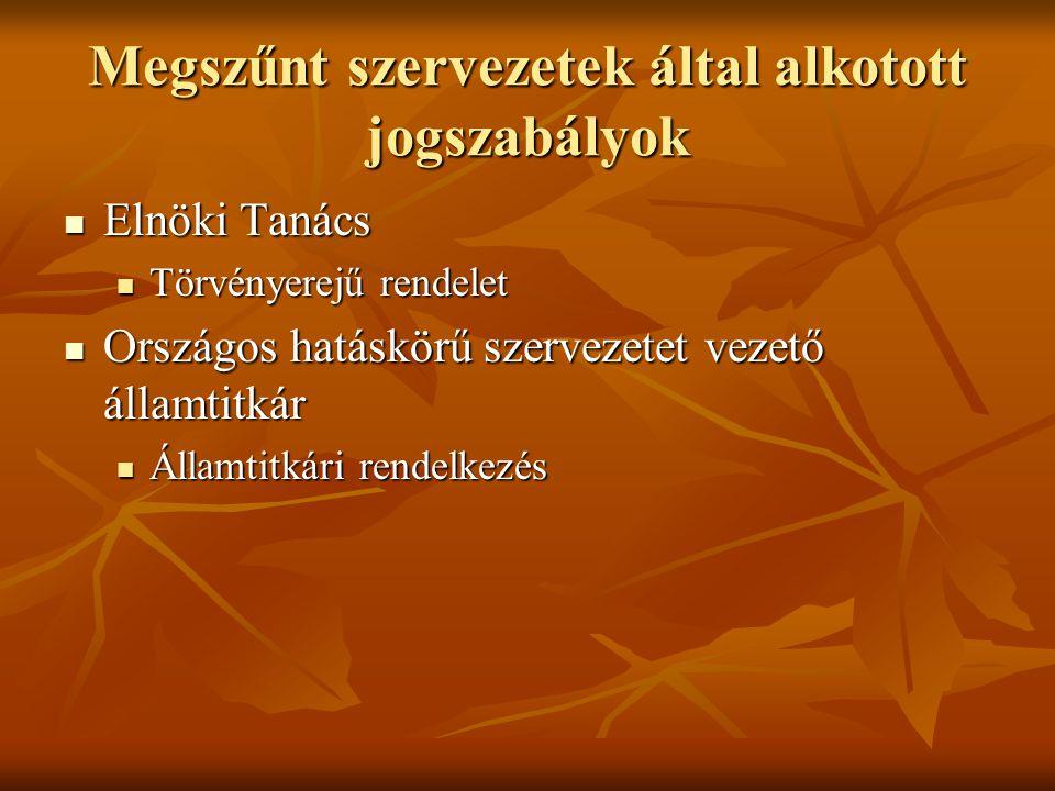 Jogszabály nyilvántartó rendszerek jelenleg Magyarországon CompLEX Jogtár CompLEX Jogtár Hatályos jogszabályok, LB elvi iránymutatásai, törvények miniszteri indoklása, jogi szakirodalom, APEH állásfoglalások, Magyar Közlöny 1989-től eredeti szövegű kiadásai, tárca közlönyök, fontosabb bírósági döntések, irat mintatár.
