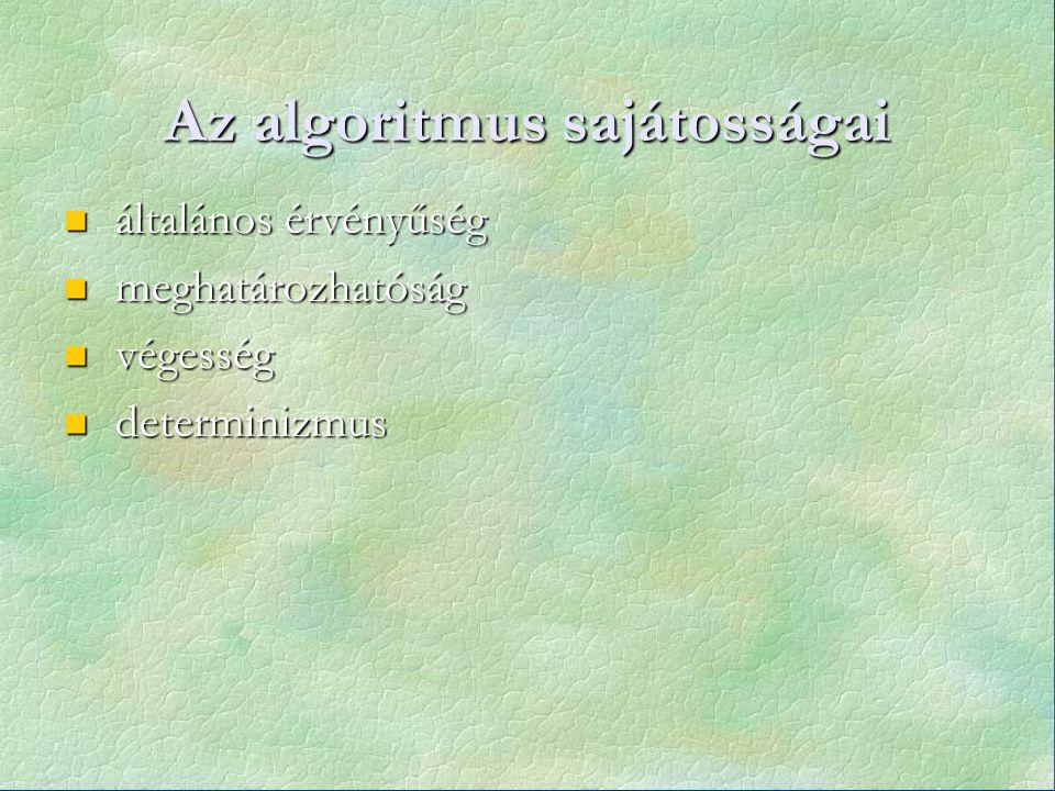 Az algoritmus sajátosságai általános érvényűség általános érvényűség meghatározhatóság meghatározhatóság végesség végesség determinizmus determinizmus
