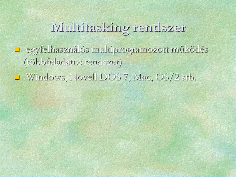 Multitasking rendszer egyfelhasználós multiprogramozott működés (többfeladatos rendszer) egyfelhasználós multiprogramozott működés (többfeladatos rendszer) Windows, Novell DOS 7, Mac, OS/2 stb.