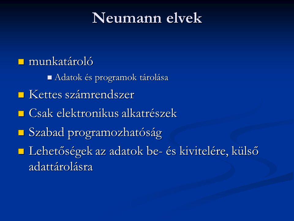 Neumann elvek munkatároló munkatároló Adatok és programok tárolása Adatok és programok tárolása Kettes számrendszer Kettes számrendszer Csak elektronikus alkatrészek Csak elektronikus alkatrészek Szabad programozhatóság Szabad programozhatóság Lehetőségek az adatok be- és kivitelére, külső adattárolásra Lehetőségek az adatok be- és kivitelére, külső adattárolásra