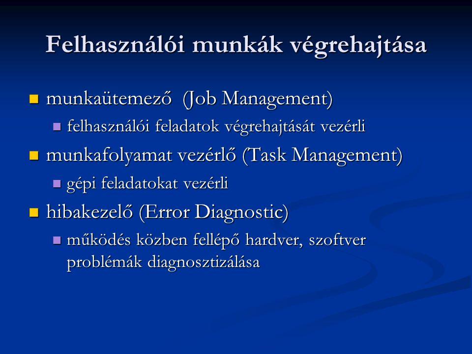 Felhasználói munkák végrehajtása munkaütemező (Job Management) munkaütemező (Job Management) felhasználói feladatok végrehajtását vezérli felhasználói feladatok végrehajtását vezérli munkafolyamat vezérlő (Task Management) munkafolyamat vezérlő (Task Management) gépi feladatokat vezérli gépi feladatokat vezérli hibakezelő (Error Diagnostic) hibakezelő (Error Diagnostic) működés közben fellépő hardver, szoftver problémák diagnosztizálása működés közben fellépő hardver, szoftver problémák diagnosztizálása