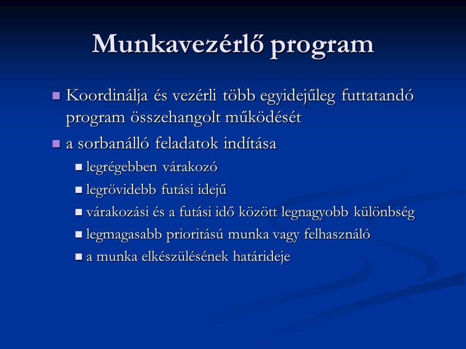 Munkavezérlő program Koordinálja és vezérli több egyidejűleg futtatandó program összehangolt működését Koordinálja és vezérli több egyidejűleg futtata