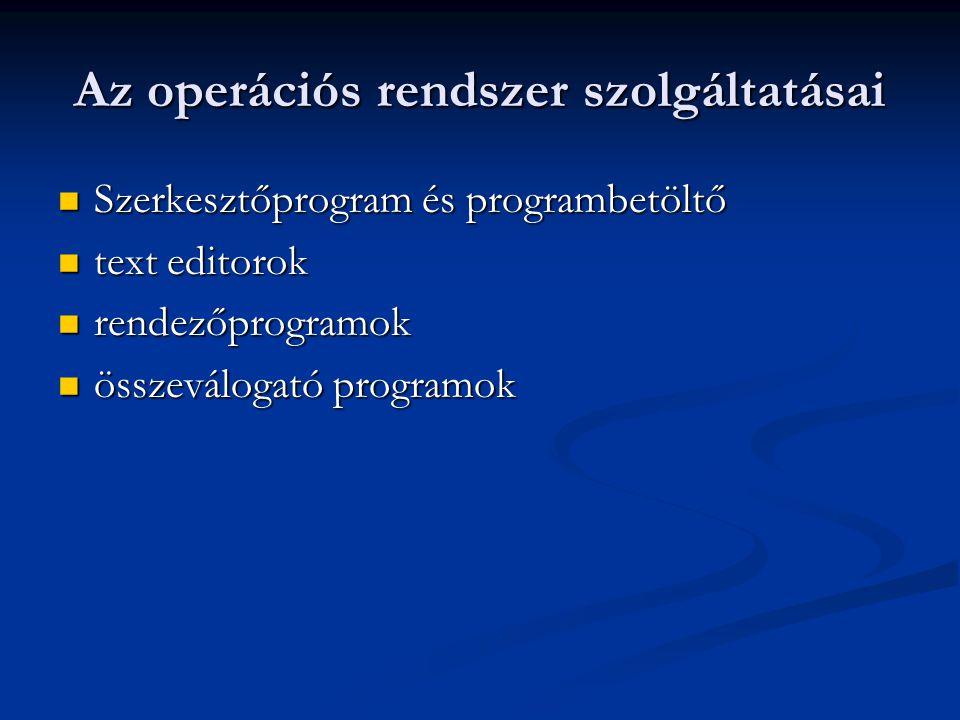 Az operációs rendszer szolgáltatásai Szerkesztőprogram és programbetöltő Szerkesztőprogram és programbetöltő text editorok text editorok rendezőprogramok rendezőprogramok összeválogató programok összeválogató programok