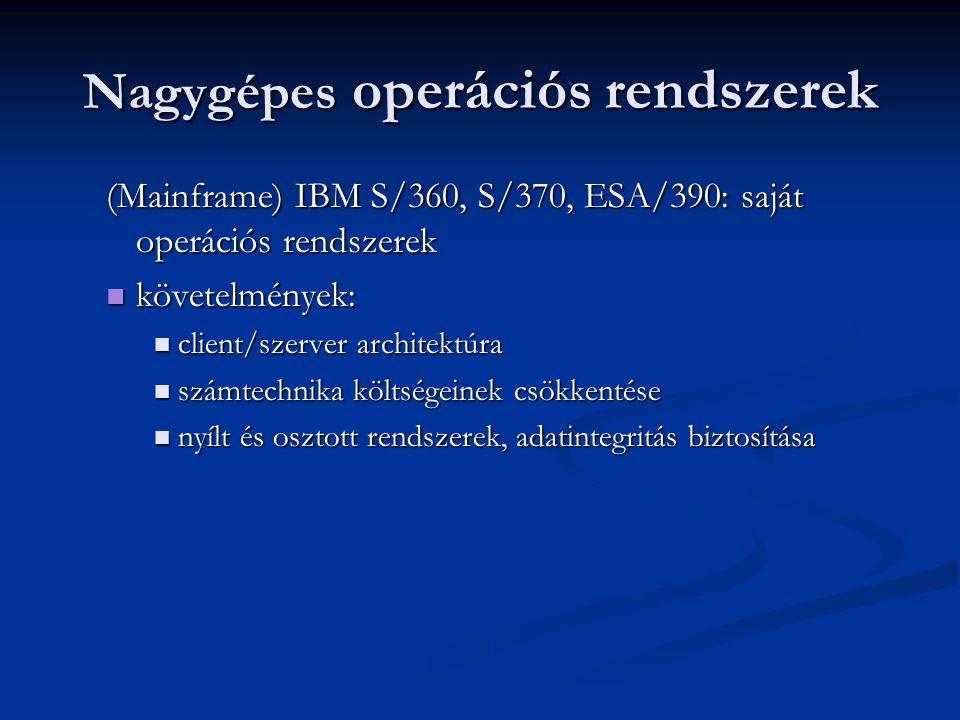 Nagygépes operációs rendszerek (Mainframe) IBM S/360, S/370, ESA/390: saját operációs rendszerek követelmények: követelmények: client/szerver architektúra client/szerver architektúra számtechnika költségeinek csökkentése számtechnika költségeinek csökkentése nyílt és osztott rendszerek, adatintegritás biztosítása nyílt és osztott rendszerek, adatintegritás biztosítása