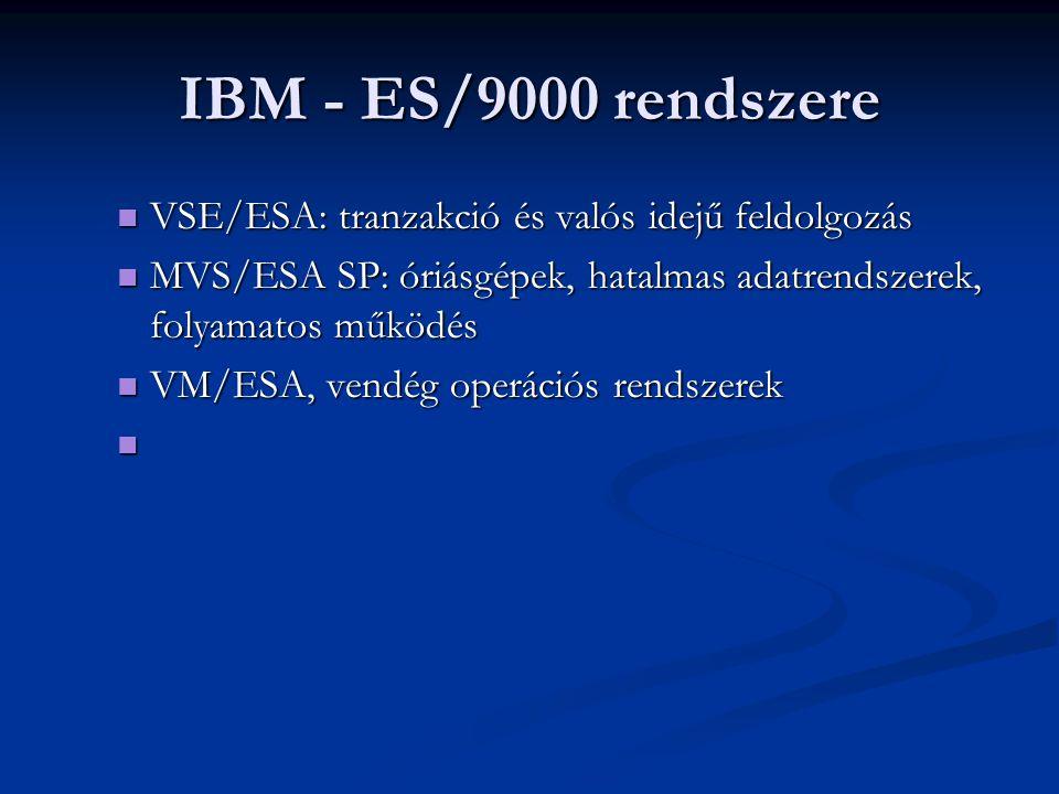 IBM - ES/9000 rendszere VSE/ESA: tranzakció és valós idejű feldolgozás VSE/ESA: tranzakció és valós idejű feldolgozás MVS/ESA SP: óriásgépek, hatalmas adatrendszerek, folyamatos működés MVS/ESA SP: óriásgépek, hatalmas adatrendszerek, folyamatos működés VM/ESA, vendég operációs rendszerek VM/ESA, vendég operációs rendszerek