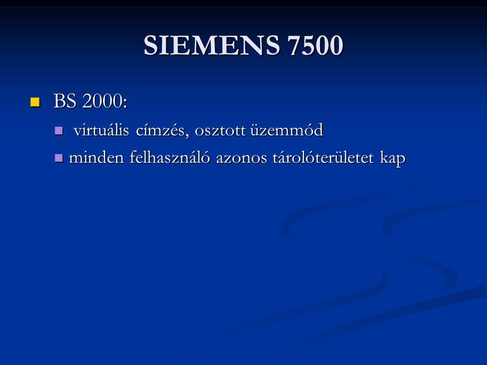 SIEMENS 7500 BS 2000: BS 2000: virtuális címzés, osztott üzemmód virtuális címzés, osztott üzemmód minden felhasználó azonos tárolóterületet kap minden felhasználó azonos tárolóterületet kap