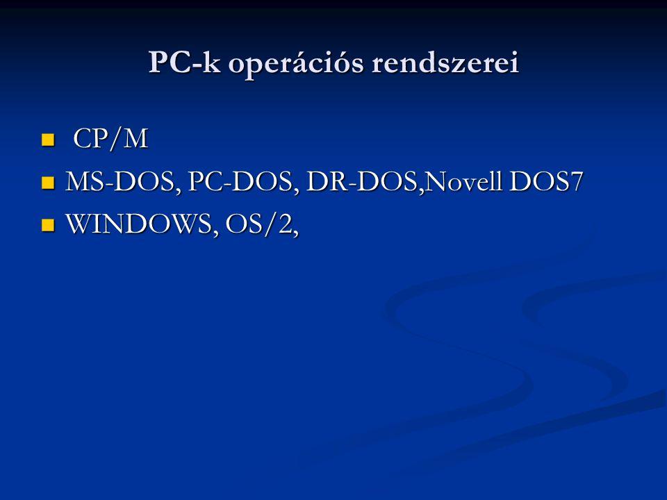 PC-k operációs rendszerei CP/M CP/M MS-DOS, PC-DOS, DR-DOS,Novell DOS7 MS-DOS, PC-DOS, DR-DOS,Novell DOS7 WINDOWS, OS/2, WINDOWS, OS/2,