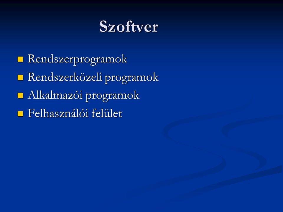 Szoftver Rendszerprogramok Rendszerprogramok Rendszerközeli programok Rendszerközeli programok Alkalmazói programok Alkalmazói programok Felhasználói