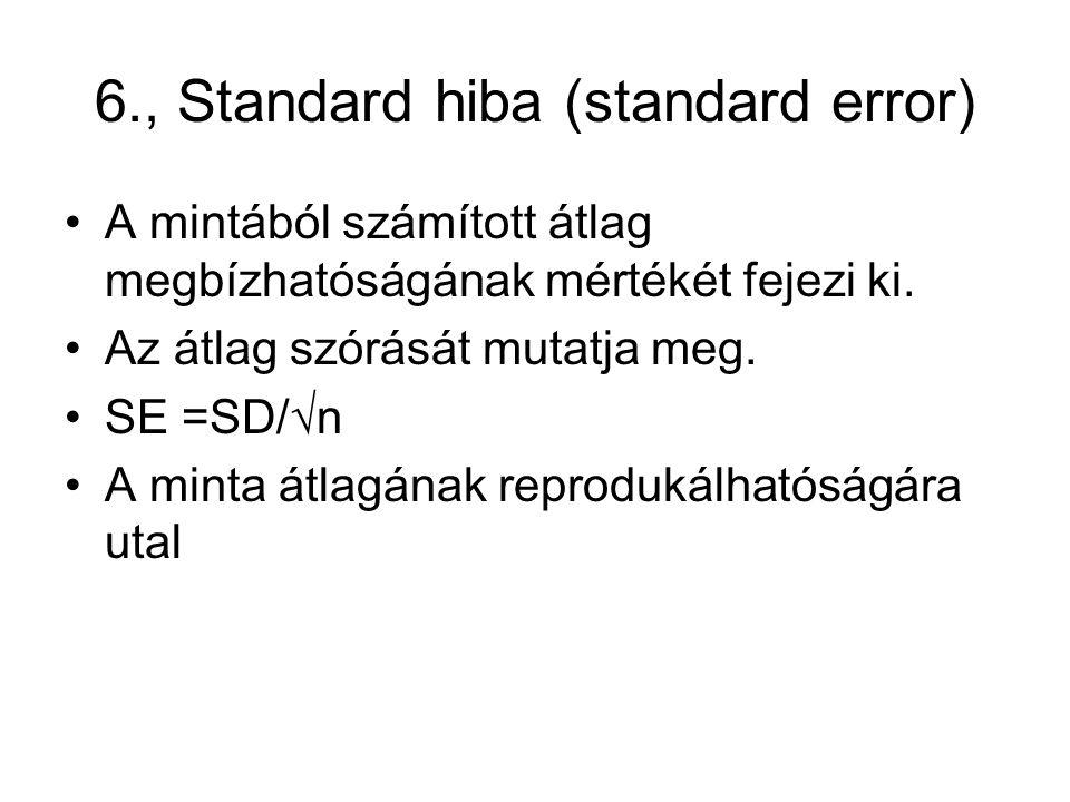 6., Standard hiba (standard error) A mintából számított átlag megbízhatóságának mértékét fejezi ki. Az átlag szórását mutatja meg. SE =SD/√n A minta á