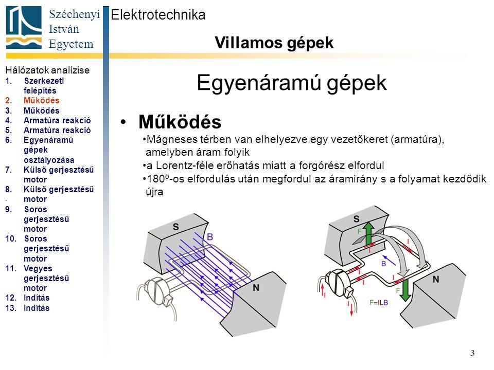 Széchenyi István Egyetem 4 Egyenáramú gépek Működés Elektrotechnika Villamos gépek...