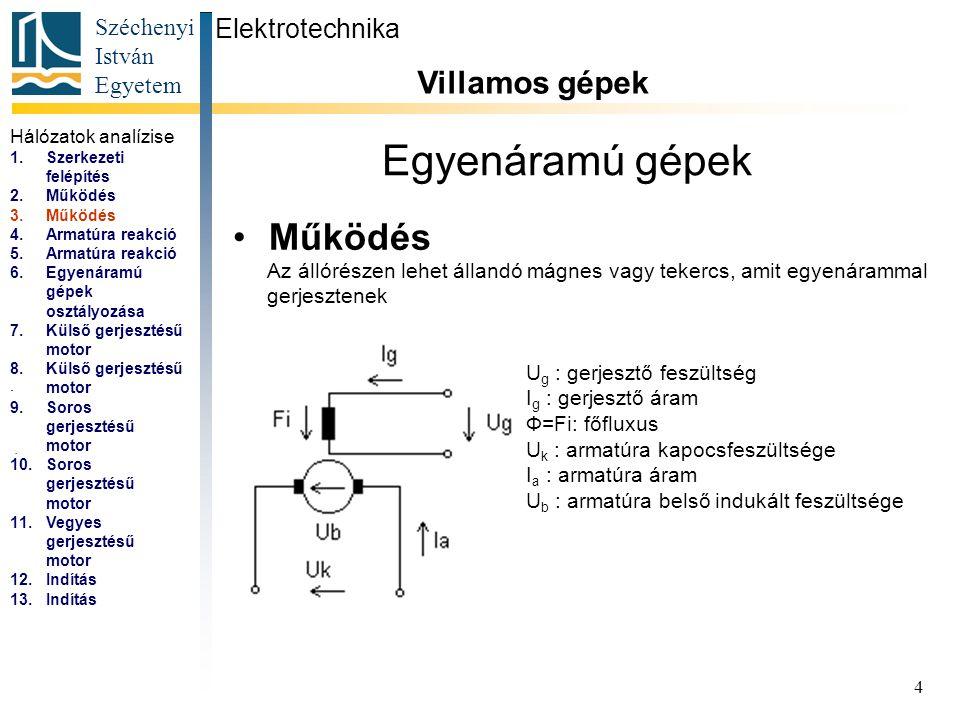 Széchenyi István Egyetem 5 Egyenáramú gépek Armatúrareakció Elektrotechnika Villamos gépek...